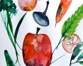 Vegetables Still Life Vegetables Watercolor Vegetables Kitchen Decor Orange Grey Green Vegetables Wall Art Vegetables Fine Art Food Art