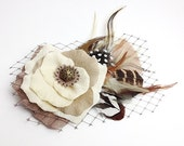 Ivory Bridal Hair Clip Accessory Romantic Wedding Rose Fascinator Antique Button original unique