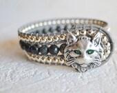 Cat Bracelet, Cat Jewelry, Cat Lover Gift, Beaded Cat Cuff, Boho, Boho Cat Bracelet, Cat, Beaded Bracelet, Bohemian, Gift for Her, Size 6.75