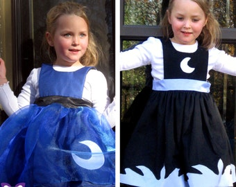 Princess Luna Inspired Reversible Dress - Ella Dress collection - Girls Sizes 2-6X Play Dress or Costume