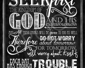 scripture Art - Matthew 6:33-34 Chalkboard Style