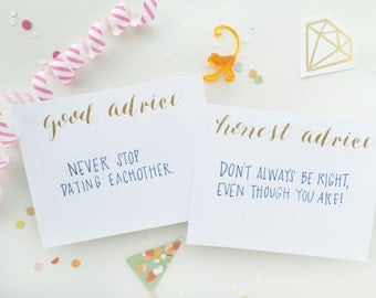 gold foil calligraphy shower game - good / honest advice for wedding, bachelorette or baby shower