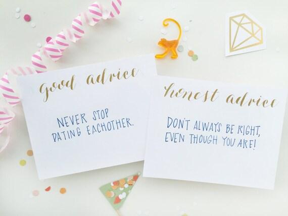 gold foil calligraphy shower game - good / honest advice for wedding, bachelorette or baby shower