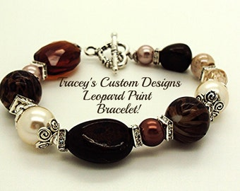 Stunning LEOPARD PRINT INSPIRED Bracelet -  One of a kind!