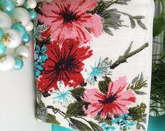 Zipper Pouch Makeup Bag Barkcloth Floral Pink Red White Aqua