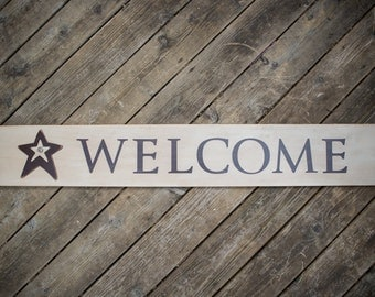 4 Foot Wooden Welcome Sign with Stars