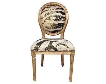 Gilded Genuine Cowhide Upholstered French Accent Chair