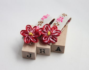 Children hair clip bundle - flowers on woven ribbon butterfly clips