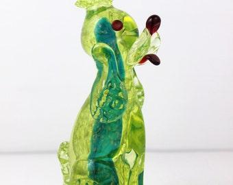 1950's Vintage Italian Venitian Glass Poodle Figurine Vaseline Glass