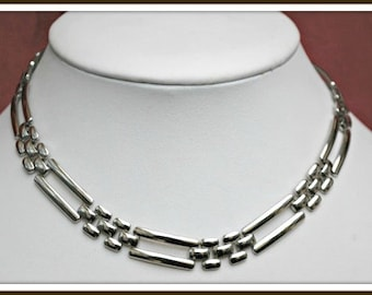 Silver link Necklace - Napier signed - Collar choker Necklace