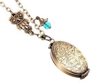 Necklace lockets 4 photos classic owl