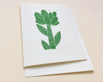 linocut card - GREEN FLOWER / greeting card / block-print card / hand-printed / flower art
