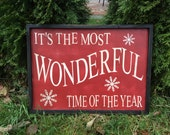 READY TO SHIP: It's the Most Wonderful Time of the Year - rustic Christmas sign