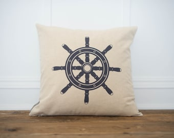 Nautical Steering Wheel Pillow Cover