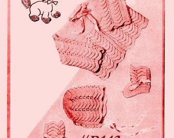 Almost FREE Vintage 1955 Babys Ripple Sweater, Bonnet & Booties 3 Piece Set B143 PDF Digital Knit Pattern