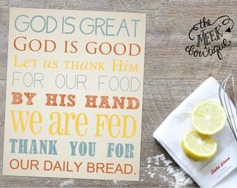 INSTANT DOWNLOAD, God is Great, God is Good Prayer Digital Art Printable, No. 83