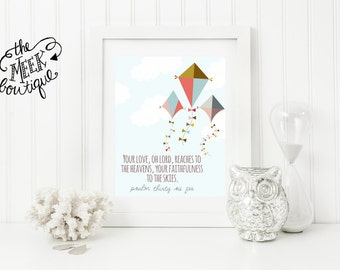 INSTANT DOWNLOAD, Scripture Printable, Kites, Psalm 36:5, No. 521