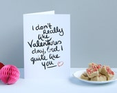 I don't really like Valentines day - folded card