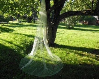 Custom Long Cathedral Length Wedding Veil Made to Order 1 Tier Cut Edge