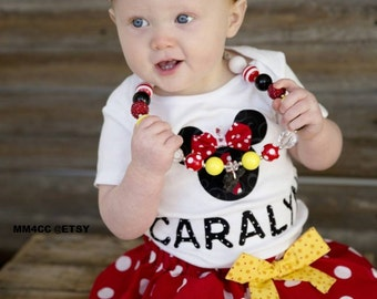 Minnie Mouse outfit Dress first Birthday Party Red Skirt bodysuit Disney baby Girl Personalized bow Newborn 3 6 9 12 18 24 m 3T 4T 5