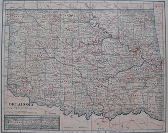 1914 Antique OKLAHOMA Map of Oklahoma State Map Vintage Map Gallery Wall Art Gift for Traveler Birthday Wedding 5373
