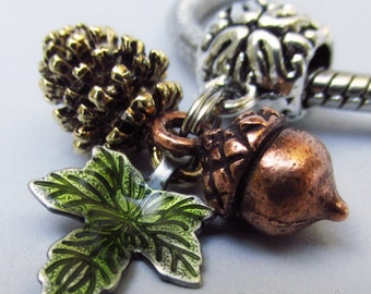 Autumn Leaves Pendant With Copper Acorn, Gold Pine Cone And Green Leaf Charms For Large Hole Bracelet And Necklace Chains