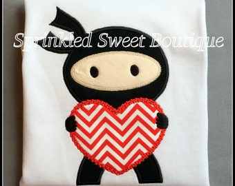 Heart Love Ninja Boy Valentines Day Applique Shirt -Short or Long Sleeve Onsie First Valentines Day