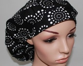 Bouffant Women's Scrub Hat, Black Background with White Circles