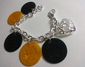 Silver Plated chain, repurposed, upcycled Bakelite Heart Charm Bracelet
