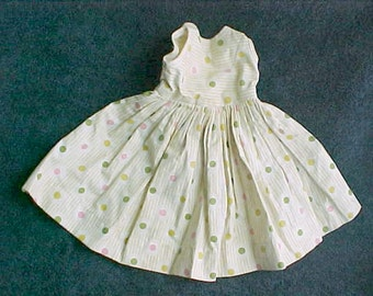 """Vintage Doll Dress - Polka Dot and Stripes Cotton Fabric - Maybe 1950s Homemade - 9"""" waist - 10"""" neck to hem - maybe for 15"""" doll"""