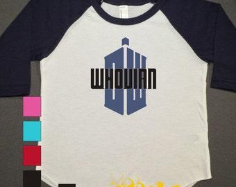 Whovian Raglan Personalized Printed Tshirt, 3/4 sleeve, baseball shirt, Toddler Raglan, Doctor Who