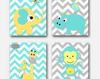 Aqua Gray Yellow Kids Art Kids Wall Art Baby Boy Nursery Print Childrens Art Children Wall Art Baby Room Decor set of 4 giraffe monkey