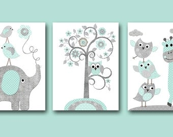 Baby Nursery Print Kids Room Decor Baby Boy Nursery Art Baby Room Decor Kids Art for Children Gifts set of 3 Gray Mint Elepahnt Giraffe