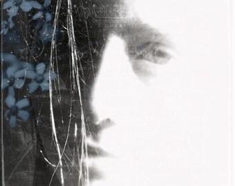 Flowers In Her Hair/  faded portrait art