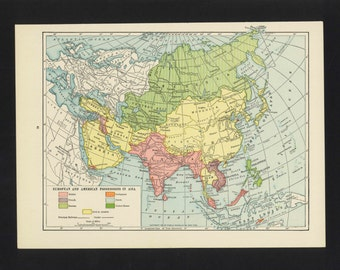 Vintage Map Asia From 1921 Original