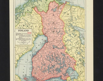 Vintage Map Finland From 1921 with WWI changes Original