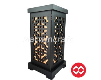No Screw Design Asian Oriental Japan Wood Carving Bamboo Art Bedside Table Lamp Wood Light Shades Furniture Gift Living Bedroom Home Decor