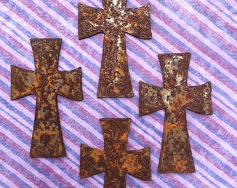 Big Rusty Metal Crosses 6 Count Rusty Crosses Home Decor Rustic Rusty Crosses Wall Stencils Wall Hanging Crosses Religious Rusted Objects