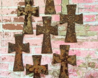 Sacred Symbols 12 Rusty Metal Crosses Wall Hangings Altered Art Supply Sculpture Supplies Schrine Accents Crosses Stencils Shappy Chic Decor