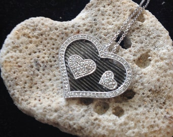 ONLY One Available 14 Karat White Gold Diamond Heart Pendant with Black Rhodium