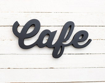 Cafe sign bar kitchen restaurant signs coffee black wooden decor wall art any color