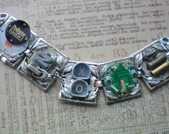 Steampunk junk  bracelet,  Recycled jewelry, Handmade jewelry,  Repurposed jewelry,Upcycled jewelry,Free USA shipping.USA made,Michigan made