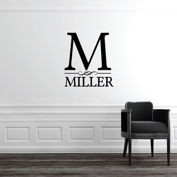 personalized custom last name wall decal monogram decorative. Black Bedroom Furniture Sets. Home Design Ideas