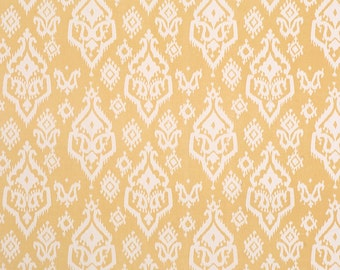 1 yard Raji - Saffron Yellow Macon - ikat - Buttery Yellow Ivory - Premier Prints -  Home Decor