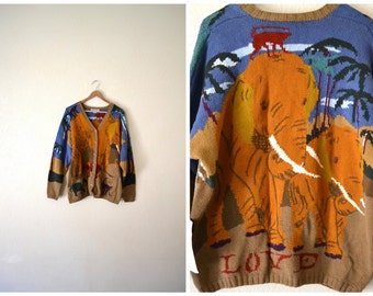 Vtg 90's Animal Print Abstract Cardigan Sweater