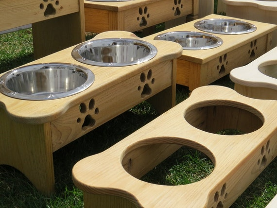 handmade dog bowl elevated wood stand all sizes by. Black Bedroom Furniture Sets. Home Design Ideas