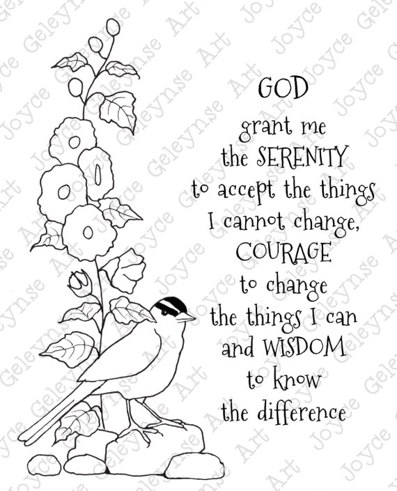 Digi Stamp Clip Art Coloring Page Or Card Serenity Prayer Bird Hollyhocks Original Freehand Drawing Jpg Png Files INSTANT DOWNLOAD