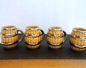 Vintage Mini Beer Mugs SET of 4 Made in Ireland 1960s Miniature Beer stein Retro Bar Barrel shape