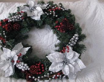 Silver flower Cristmas wreath