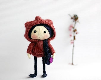Purple Viola Doll - pdf knitting pattern